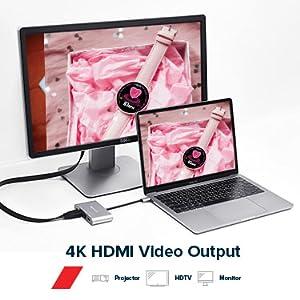 bildschirm 4k hdmi anschluss typ c auf hdmi usb dongle für MacBook Laptop usb hub mit netzteil