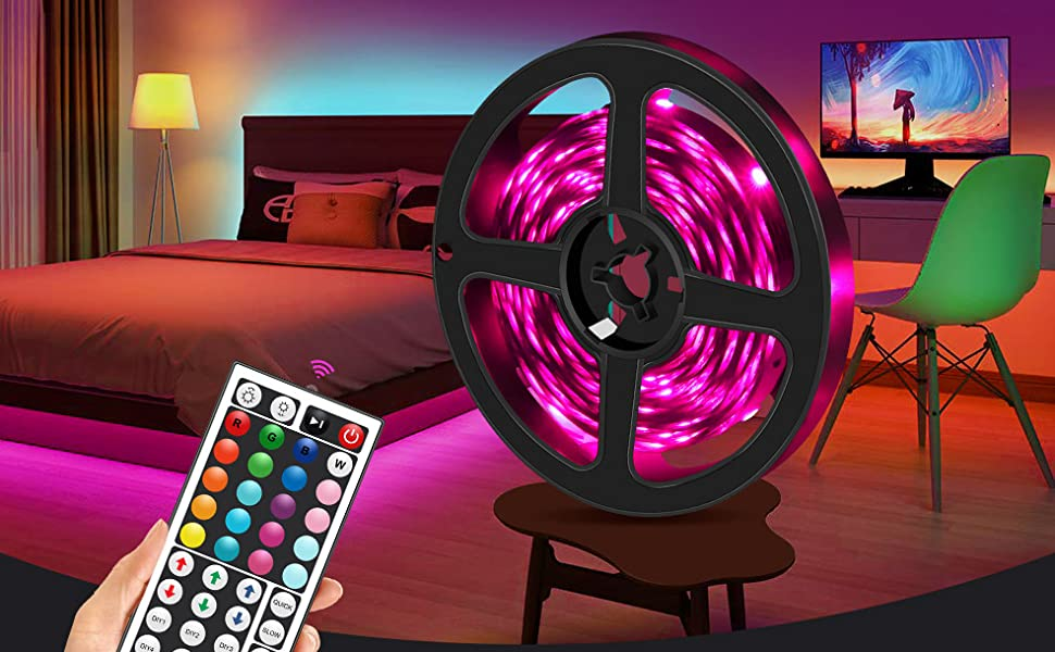 rgb led strip lights music sync for bedroom 40ft tape lights with ir remote controller app bluetooth
