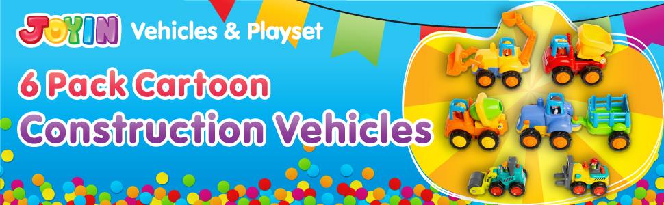 JOYIN 6 Cartoon Construction Vehicles
