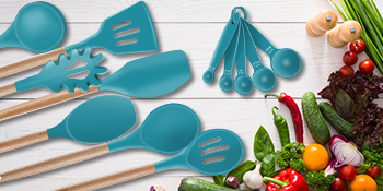 blue cooking set silicone whisks spatula spoon ladles brush wood handle kitchenware kit sets