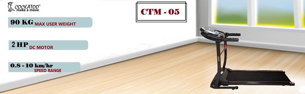 Cockatoo CTM-05 Steel 2 HP Peak Motorised Multi-Function Treadmill
