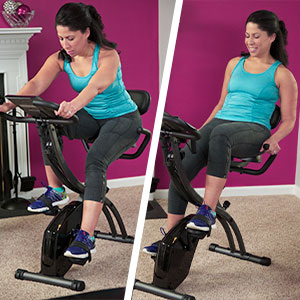 Upright exercise bike and recumbent exercise bike in one