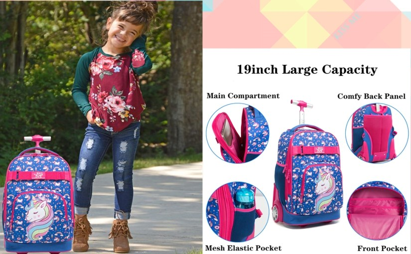 girls boys rolling backpack