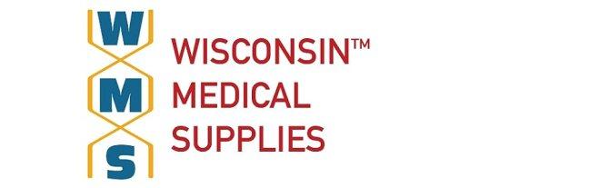WMS Wisconsin Medical Supplies Company Logo. WMS in DNA Strand next to Wisconsin Medical Supplies