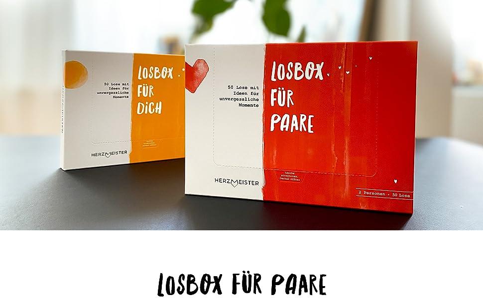 herzmeister losbox für paare und losbox für dich 50 lose geschenk geschenkidee geschenkbox blaugold