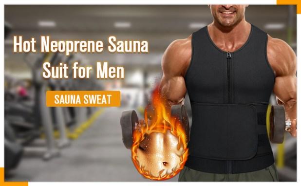 Wonderience Men Waist Trainer Vest Hot Neoprene Sauna Suit Corset Body Shaper Zipper
