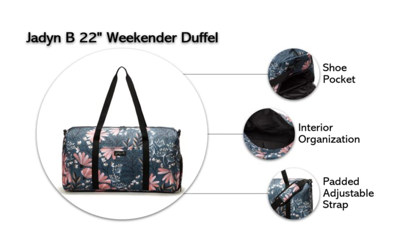 jadyn b 22 inch weekender bag travel duffel shoe compartment padded shoulder strap adjustable