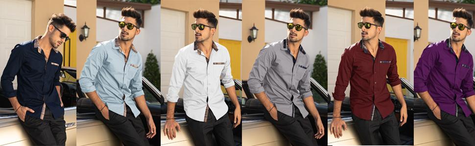 Men's Casual Cotton Slim Fit Dress Shirt