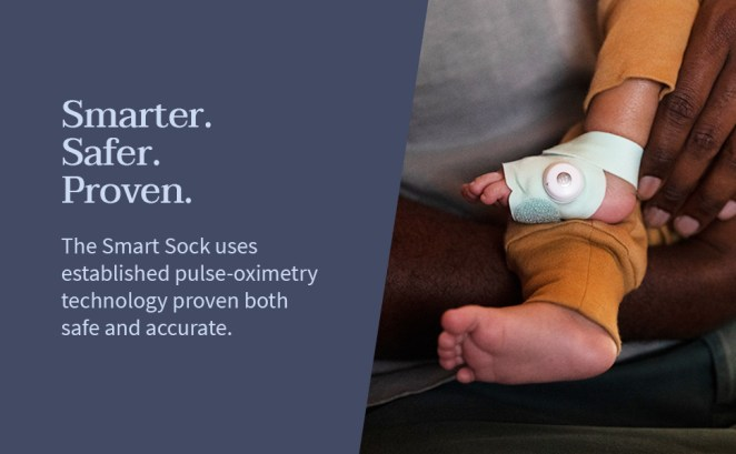 Smart sock monitor uses pulse oximetry technology, pictured on baby's foot