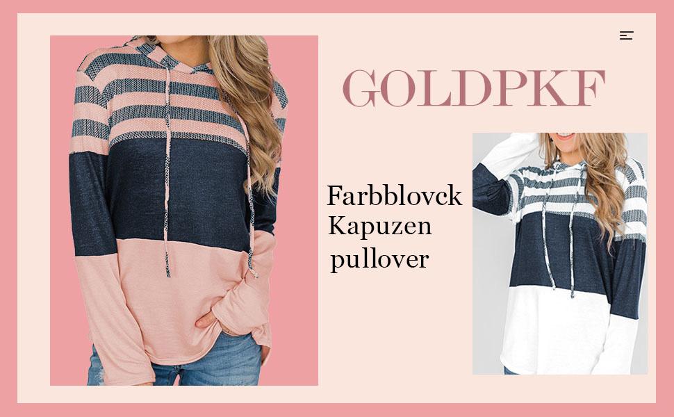Damen Farbblock Kapuzenpullover Gestreift Hoodie Entspannt Sweatshirt mit Kapuze…