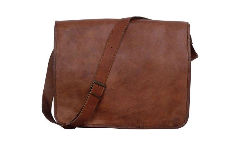 18 inch Vintage Crossbody Genuine Leather Laptop Messenger Bag