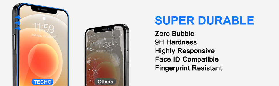 fingerprint bubble free highly responsive 9h hardness Face ID compatible