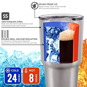 Double Walled Vacuum Insulated Metal Tumbler