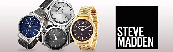 Steve Madden Watch Watches for Men Dial Strap Face Leather Fashion Gift Gifts Him His Round Face