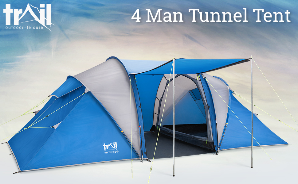 Hartland The Premium Camping Essential 4 person tunnel tent camp shelter cosy trail outdoor leisure