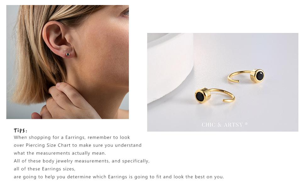 Huggie Hoop Earring 925 Sterling Silver Black CZ Huggie Earrings