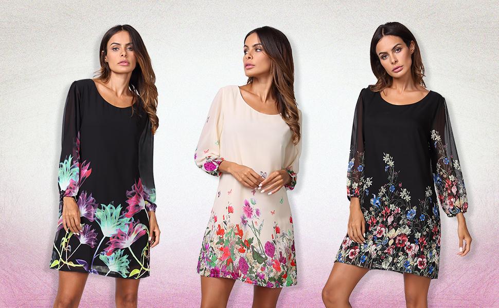 Women's Floral Pattern 3/4 Sleeve Chiffon Tunic Dress