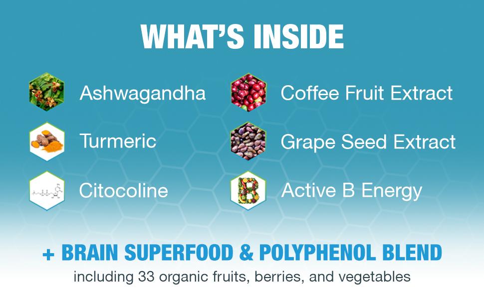 ashwagandha, coffee fruit extract, turmeric, grape seed extract, citocoline, active b energy