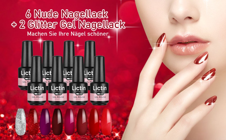 6 Nude Nagellack + 2 Glitter Gel Nagellack