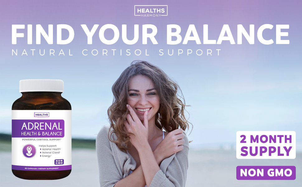 Natural Adrenal Health & Cortisol Support - Stress Relief - Ashawaghanda & L-Tyrosine