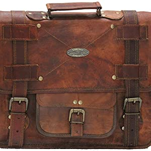 brown leather messenger bag 18 inch