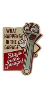 garage tools metal sign