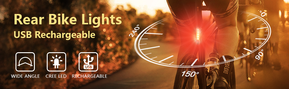 Rear Bike Lights USB Rechargeable Wide Angle