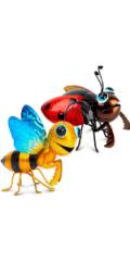 Ladybug and Honeybee Yard Art