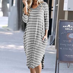 striped dress for women short sleeve t shirt dresses