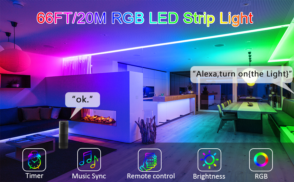 66feet led strip lights smart