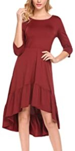 SE MIU Women Casual 3/4 Sleeve High-Low Hem Cute Pleated Fit and Flare Cocktail Party Dress