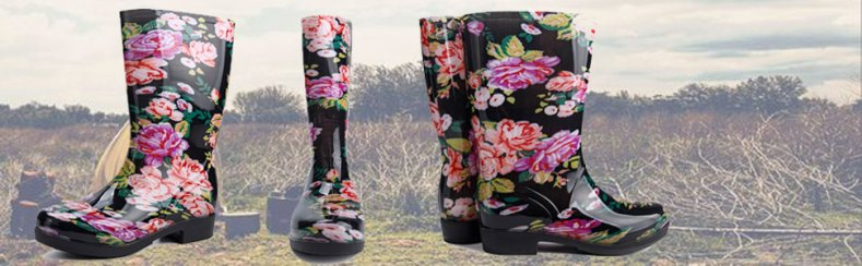 Rain Boots for Women Floral Print Mid Calf Slip on Water Shoes