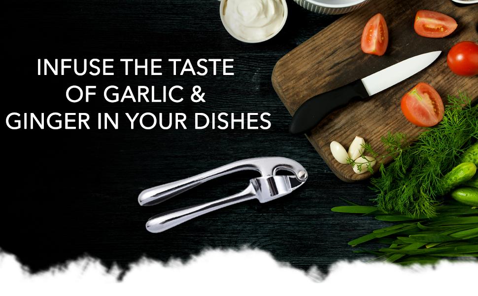Garlic press for kitchen