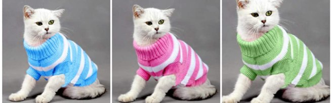 Evursua Kitten Clothes Sweaters for Winter Pet Clothing