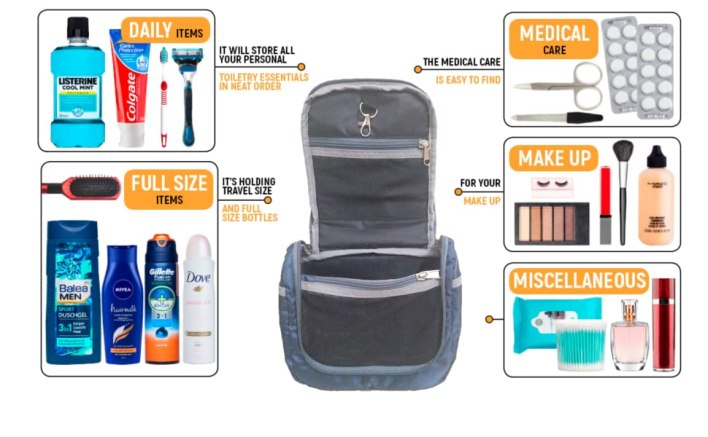 Travel toiletry bag organizer