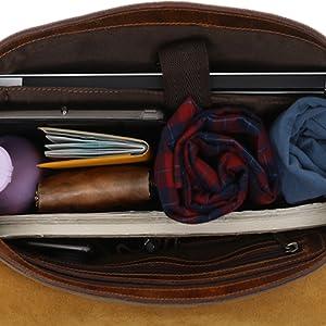 Messenger Satchel Bag Men Women Vintage Canvas Real Leather 14-inch Laptop Briefcase travel carry on