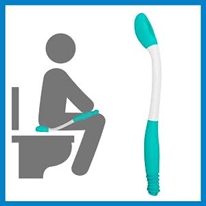Person using comfort wipe reacher extender