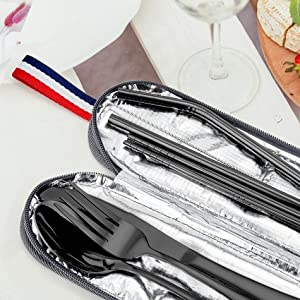 travel silverware set with case