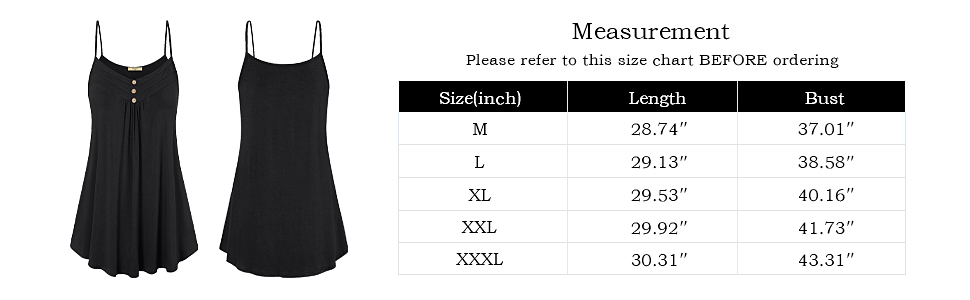 Camisole's Size Chart