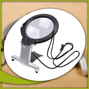 Freisprechen, Lupe, Glas, Hals, Schreibtisch, LED, Licht, Readign, Reparatur.