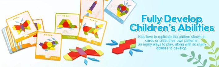 Wooden Pattern Blocks Geometric Shape Puzzles Creative Educational Toys Montessori Tangrams for Kids