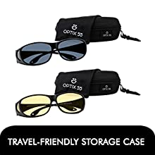Driving night sunglasses come in a travel friendly case