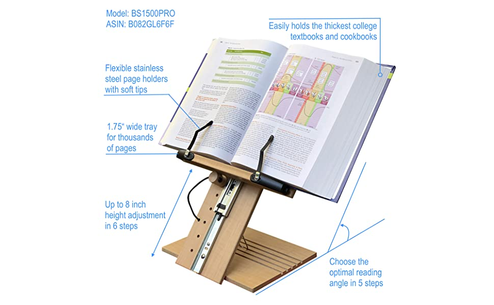 BS1500PRO Large Book Stand Adjustable height bookstands holder for textbooks reading cookbooks