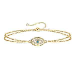layered evil eye bracelet