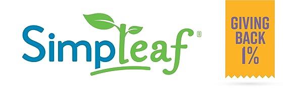 Simpleaf logo, Lavender, Giving Back 1%