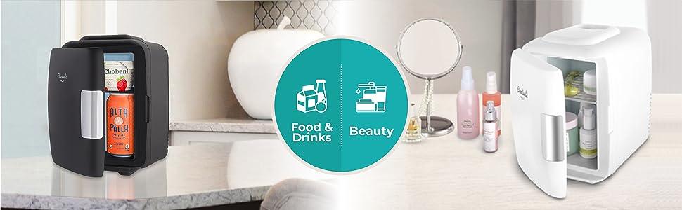 home beauty skin-care mini-fridge refrigerator food drinks tiny portable cooler warmer
