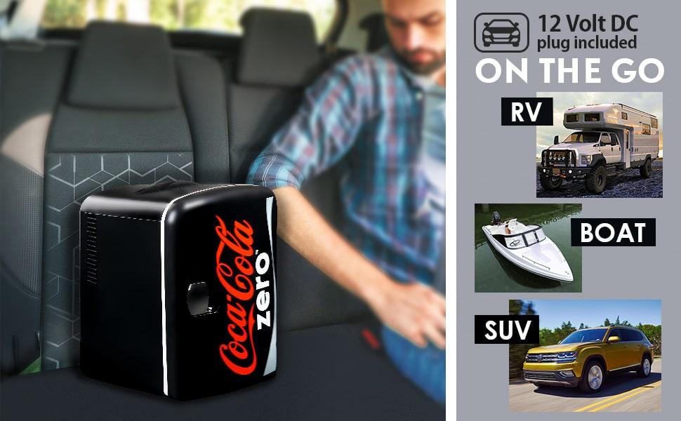 Mini Fridge, 6 Can, Coca Cola, Bedroom, Cooler, Refrigerator, Compact, Portable, Skincare,