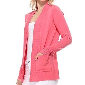 YEMAK Women's Long Sleeve Open Front Knit Sweater Cardigan Shrug with Pocket (S-XL)