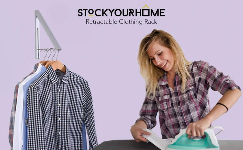 Stock Your Home Retractable Clothes Rack - Wall Mounted Folding Clothes Hanger Drying Rack