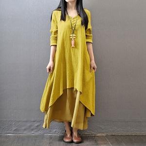 women vintage boho dress